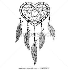 Heart Dream Catcher Tattoo Watercolor Drawing Dream Catcher Feathers Heart Stock Illustration 45