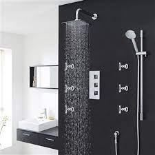 Buy Milan Bathroom Shower Set With Square Rainfall Shower Head Body Massage Jets Best Sale