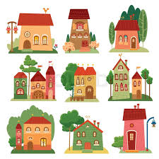 Collection Of Cute Cartoon Houses In Stock Vector