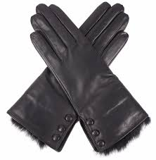 dents las fur trimmed black leather gloves