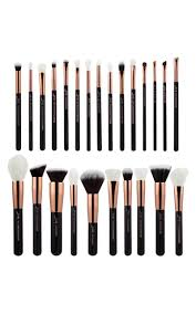 makeup brush set in black and rose gold 25 pc
