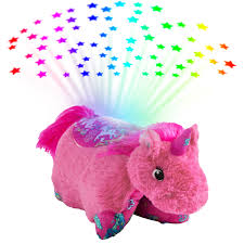 Stuffed Animal Ceiling Night Light Colorful Pink Unicorn Sleeptime Lite