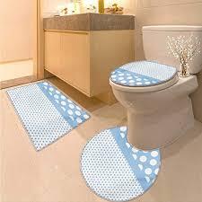 anhuthree polka dots toilet floor mat set baby blue polka dots pattern modern in nursery boys colors vintage design print 3 piece bathroom contour rugs blue