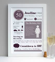 50th birthday personalised 1968 print