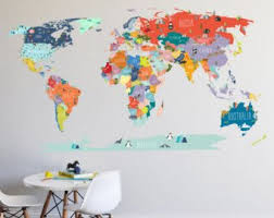 <b>Map wall decal</b>   Etsy