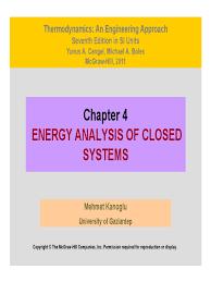 Thermodynamics I : Energy Analysis of Closed Systems   Heat Capacity ...