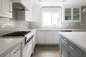 gray brick tile kitchen backsplash