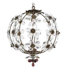 french antique crystal flowers and brass chandelier for