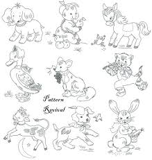 Vintage Embroidery Designs Machine Embroidery Applique Quilt 7047 Nursery Animal By