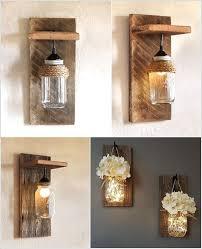 diy wall lighting. Beauteous Wall Lamps Made From Mason Jars And Barn Wood Diy Lighting H