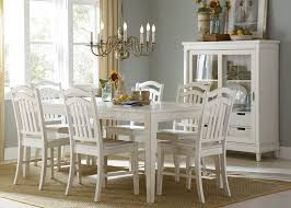 rectangle leg dining table in rubbed linen white finish