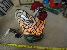 vintage stained glass rooster en lamp antique table desk lamp