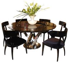 ac833 180 black high gloss crocodile textured glass dining table round dining table for 6 with