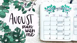 August Theme Calendar Plan With Me August Bullet Journal Setup