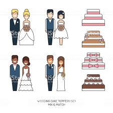 Wedding Cakes With Figurine Bride And Groom Toppers Vector Icon Set