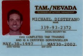 techniques of alcohol management training course certificate certified server seller tam nevada 1997