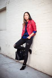 of style red leather jacket distressed skinny