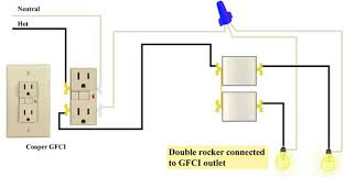 wire double rocker switch to gfci house lighting fans lights Wiring Double Light Switch Diagram wire double rocker switch to gfci wiring a double light switch diagram