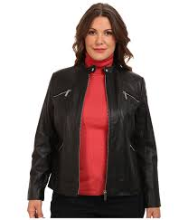 michael michael kors plus size zip pocket leather jacket black womens coat