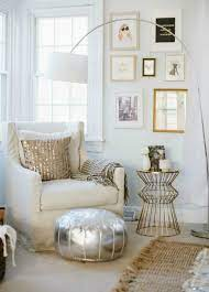 living room rose gold and silver decor