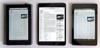 google currents under review competing devices kindle fire left and ipad mini center compared to a nexus 7 right