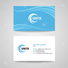 Business Card Background Template Blue Sky Wave Style Vector