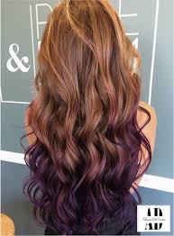 Beautifully Curled Purple And Brown Hair