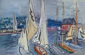 raoul dufy sailing boats in trouville c 1936 oil on canvas