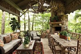 cozy cabin chic es swooning over decorating log home charming outdoor dining deck kitchen ideas interior