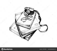 カメラと眼鏡手書き本のスタック ストックベクター Iamnee 188138916
