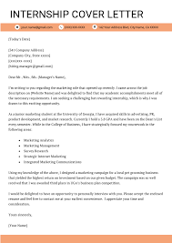 Cover Letter For Internship Internship Cover Letter Example Resume Genius