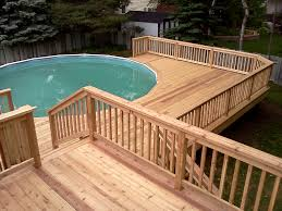 Wood Pool Deck Swimming Pool Simple Wooden Pool Deck Ideas For Small And Round