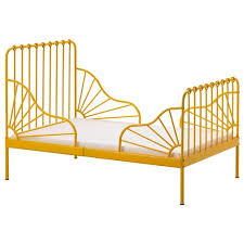 MINNEN extendable bed frame with slatted bed base, σκούρο κίτρινο ...