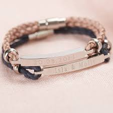 personalised women s leather identity bracelet