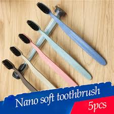 <b>5 pieces</b> Natural Bamboo Toothbrush Portable <b>Soft</b> Wheat Straw ...
