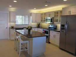 kitchen led track lighting. Kitchen. L Shape Kitchen Decoration Design Ideas Using White Wood Glass Door Cabinet Including Led Track Lighting