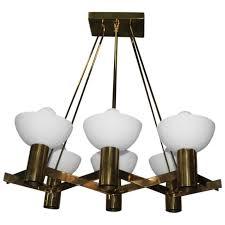 mid century modern italian chandelier brass murano glass sculptural for