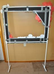 the back of photo booth frame on pvc pipe stand duck tape is