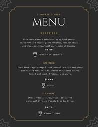 Formal Dinner Menu Template Interesting Fancy Menu Templates By Canva