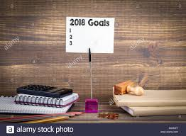 2018 goals list work desk business success background Stock Photo