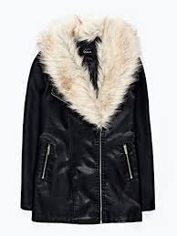 prolonged faux leather jacket with removable faux fur