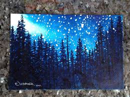 stars mountain pine trees silhouetted in a night sky with a galaxy of stars 6 x 9 original watercolor painting christie elder ussher