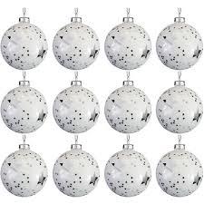 12 Stück Weihnachtskugeln Sterne ø8cm Weiß Und Silber Glaskugeln Weihnachtsbaumkugeln Christbaumkugeln Christbaumschmuck Baumschmuck Dekokugeln