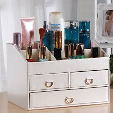 creative with mirror desk leather jewelry box makeup storage box organizer conner case stand holder in storage bo bins from home garden on