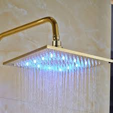 hickory gold finish wall mounted 10 square led rainfall shower head with handheld shower tub spout funitic