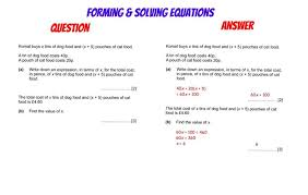 gcse revision forming and solving equations gcse revision algebra gcse revision solving equations and equation