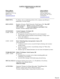 Example Of A Chronological Resume Chronological Resume Sample