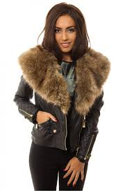 black faux fur collar detail biker jacket