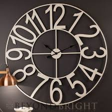 60cm white numbers metal wall clock