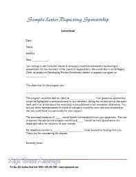 Sample Letter For Sponsorship Stunning Format For Sponsorship Letter